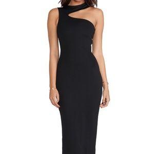 AQAQ one shoulder black dress
